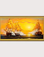 Недорогие -обрамленный художественный принт элегантный дизайн античный золотой деревянный каркас холст парусник морской пейзаж гладкий парусный спорт пс картина маслом стены искусства