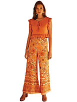 cheap -Hippie Disco Vintage Boho 1960s Pants Flowy Pants Women's Spandex Costume Orange / Red Vintage Cosplay Party
