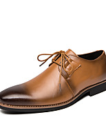 cheap -Men's Leather Fall / Spring & Summer Casual / British Oxfords Breathable Brown / Black / Dark Blue / Party & Evening