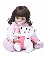 cheap -NPKCOLLECTION 22 inch Reborn Doll Baby Baby Girl Cute Hand Made Artificial Implantation Brown Eyes Full Body Silicone Silicone Silica Gel with Clothes and Accessories for Girls' Birthday and Festival