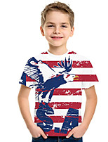 cheap -Kids Boys' Active Punk & Gothic Striped 3D Animal Short Sleeve Tee Rainbow