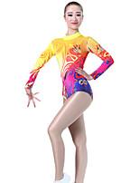 cheap -Rhythmic Gymnastics Leotards Artistic Gymnastics Leotards Women's Girls' Kids Leotard Spandex High Elasticity Handmade Long Sleeve Competition Dance Rhythmic Gymnastics Artistic Gymnastics Yellow