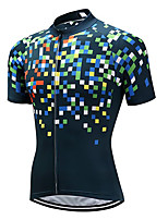 cheap -21Grams Men's Women's Short Sleeve Cycling Jersey 100% Polyester Blue+Green Plaid / Checkered Bike Jersey Top Mountain Bike MTB Road Bike Cycling UV Resistant Breathable Quick Dry Sports Clothing