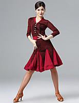 cheap -Latin Dance Dresses Women's Performance Milk Fiber Ruching / Split Joint Long Sleeve Dress
