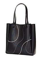 cheap -Women's Zipper Cowhide / PU Top Handle Bag Solid Color Black