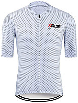 cheap -21Grams Men's Short Sleeve Cycling Jersey 100% Polyester White Polka Dot Bike Jersey Top Mountain Bike MTB Road Bike Cycling UV Resistant Breathable Quick Dry Sports Clothing Apparel / Stretchy
