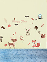 cheap -DIY Wall Sticker Animal Squirrel Rabbit Fox Wallpaper Children's Room Bedroom Living Kid Room Self-adhesive Paper Decor