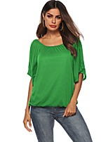 cheap -Women's Daily T-shirt - Solid Colored Green