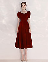 cheap -A-Line Scoop Neck Tea Length Velvet Minimalist / Red Cocktail Party / Prom Dress with Pleats 2020