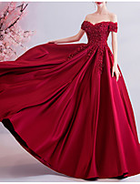 cheap -A-Line Off Shoulder Sweep / Brush Train Lace / Satin Sexy / Red Engagement / Formal Evening Dress with Beading / Pleats 2020
