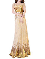 cheap -A-Line Illusion Neck Floor Length Polyester Sparkle / Gold Prom / Formal Evening Dress with Sequin / Appliques 2020