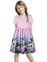 cheap -Kids Girls' Basic Cute Sun Flower Floral Color Block Print Short Sleeve Knee-length Dress Blushing Pink