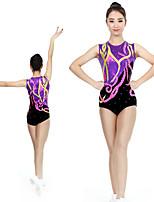 cheap -Rhythmic Gymnastics Leotards Artistic Gymnastics Leotards Women's Girls' Kids Leotard Spandex High Elasticity Handmade Sleeveless Competition Dance Rhythmic Gymnastics Artistic Gymnastics Purple