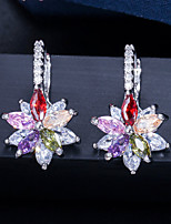 cheap -Women's Clear Blue AAA Cubic Zirconia Drop Earrings Classic Flower Luxury Vintage S925 Sterling Silver Earrings Jewelry White and Sliver / Burgundy / Green For Party Anniversary Engagement 1 Pair