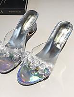 cheap -Women's Sandals Chunky Heel Open Toe PU Summer Silver