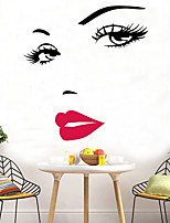 cheap -Sexy Hepburn Red Lips Wall Stickers Marilyn Monroe Face Eyes Red Lip Wall Stickers Wall Art Home Decor Wall Stickers