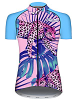 cheap -21Grams Women's Short Sleeve Cycling Jersey 100% Polyester Blue+Pink Bike Jersey Top Mountain Bike MTB Road Bike Cycling UV Resistant Breathable Quick Dry Sports Clothing Apparel / Stretchy