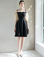 cheap -A-Line Spaghetti Strap Short / Mini Spandex Little Black Dress / Black Wedding Guest / Cocktail Party Dress with Pleats 2020