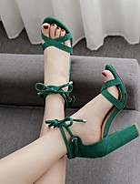 cheap -Women's Sandals Chunky Heel Round Toe Suede Summer Black / Green
