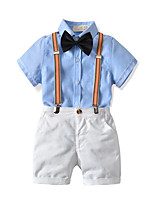 cheap -Kids Boys' Basic Birthday Party Party & Evening Solid Colored Short Sleeve Regular Regular Clothing Set Blue