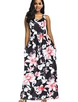 cheap -Women's A Line Dress - Floral Maxi Purple Red Light Blue S M L XL