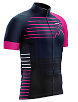 cheap -21Grams Men's Short Sleeve Cycling Jersey 100% Polyester Pink Patchwork Bike Jersey Top Mountain Bike MTB Road Bike Cycling UV Resistant Breathable Quick Dry Sports Clothing Apparel / Stretchy