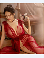 cheap -Women's Mesh Suits Nightwear Solid Colored Red White Black One-Size