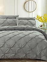 cheap -Duvet Cover Sets 3 Piece Linen / Cotton Solid Colored Black Printed Simple