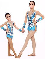 cheap -Rhythmic Gymnastics Leotards Artistic Gymnastics Leotards Women's Girls' Leotard Blue Spandex High Elasticity Handmade Jeweled Diamond Look Long Sleeve Competition Dance Rhythmic Gymnastics Artistic