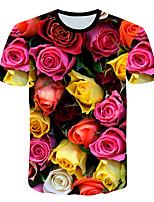 Недорогие -Дети Мальчики Классический Уличный стиль Роуз Контрастных цветов 3D Радужный С принтом С короткими рукавами Футболка Цвет радуги
