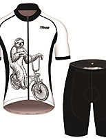 cheap -21Grams Men's Short Sleeve Cycling Jersey with Shorts Black / White Animal Sloth Bike Clothing Suit UV Resistant Breathable 3D Pad Quick Dry Sweat-wicking Sports Solid Color Mountain Bike MTB Road