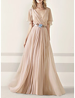 cheap -A-Line V Neck Sweep / Brush Train Chiffon Elegant / Minimalist Engagement / Formal Evening Dress with Sash / Ribbon / Pleats / Appliques 2020