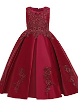 cheap -Kids Girls' Active Sweet Solid Colored Embroidered Sleeveless Maxi Dress Wine