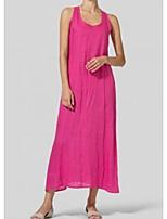 cheap -Women's Shift Dress - Solid Color Maxi Black White Blushing Pink S M L XL