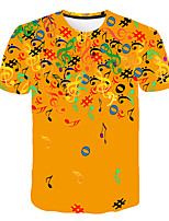 Недорогие -Дети Мальчики Классический Уличный стиль Контрастных цветов 3D Радужный С принтом С короткими рукавами Футболка Желтый