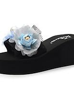 cheap -Women's Slippers & Flip-Flops Wedge Heel Open Toe Imitation Pearl / Satin Flower Polyester Sweet / Chinoiserie Walking Shoes Summer Light Yellow / Fuchsia / Pink