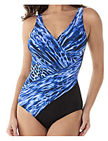 cheap -Women's Blue White Bikini Swimwear Swimsuit - Color Block M L XL Blue