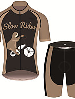 cheap -21Grams Men's Short Sleeve Cycling Jersey with Shorts Brown+Gray Animal Sloth Bike Clothing Suit UV Resistant Breathable 3D Pad Quick Dry Sweat-wicking Sports Animal Mountain Bike MTB Road Bike