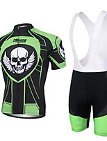 cheap -21Grams Men's Short Sleeve Cycling Jersey with Bib Shorts Black / Green Bike UV Resistant Quick Dry Sports Solid Color Mountain Bike MTB Road Bike Cycling Clothing Apparel / Stretchy