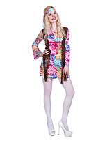 cheap -Hippie Diva Disco 1980s Dress Outfits Headwear Women's Costume Blushing Pink Vintage Cosplay Party Long Sleeve