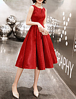 cheap -A-Line V Neck Knee Length Spandex / Sequined Sparkle / Red Cocktail Party / Prom Dress with Sequin 2020
