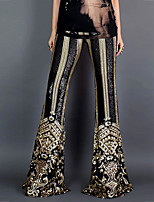 cheap -Hippie Disco Vintage Boho 1960s Pants Flowy Pants Women's Sequins Spandex Sequin Costume Black Vintage Cosplay Party