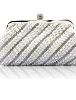 Недорогие -Жен. / Девочки Жемчужная отделка / Кристаллы синтетика Вечерняя сумочка Сплошной цвет Белый