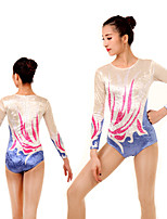 cheap -Rhythmic Gymnastics Leotards Artistic Gymnastics Leotards Women's Girls' Leotard White Spandex High Elasticity Handmade Jeweled Diamond Look Long Sleeve Competition Dance Rhythmic Gymnastics Artistic