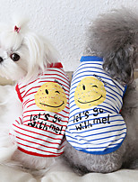 cheap -Dog Costume Vest Dog Clothes Breathable Red Blue Costume Beagle Bichon Frise Chihuahua Cotton Stripes Quotes & Sayings Casual / Sporty Cute XS S M L XL