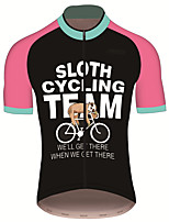 cheap -21Grams Men's Short Sleeve Cycling Jersey 100% Polyester Black / Red Animal Sloth Bike Jersey Top Mountain Bike MTB Road Bike Cycling UV Resistant Breathable Quick Dry Sports Clothing Apparel