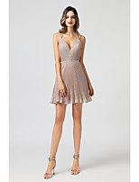cheap -A-Line Spaghetti Strap Short / Mini Spandex Hot / Pink Cocktail Party / Homecoming Dress with Beading / Criss Cross 2020