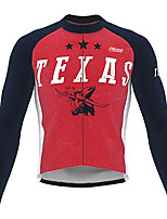 cheap -Men's Long Sleeve Cycling Jersey 100% Polyester Black / Red Bike Jersey Top Mountain Bike MTB Road Bike Cycling UV Resistant Breathable Quick Dry Sports Clothing Apparel / Stretchy / Race Fit