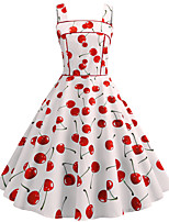 cheap -Women's Party Daily Active Cute Swing Dress - Floral Print Patchwork Print White S M L XL