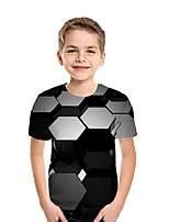 cheap -Kids Boys' Active Street chic Geometric Color Block 3D Short Sleeve Tee Black